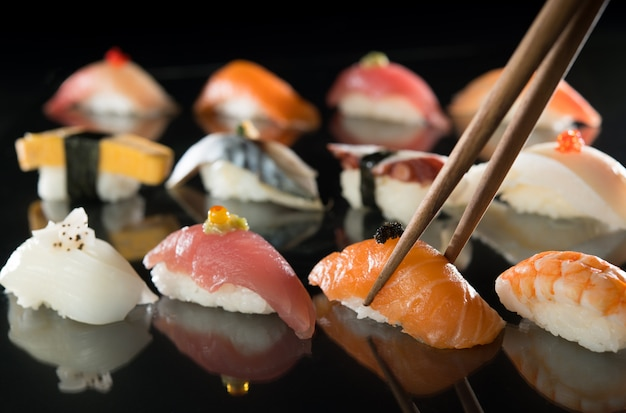 Japanese food sushi set dinner meal isolated on white background