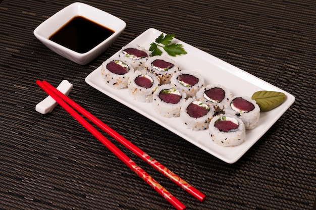 Japanese food, sushi tuna and rice meal, asian food, organic sea food, natural fish