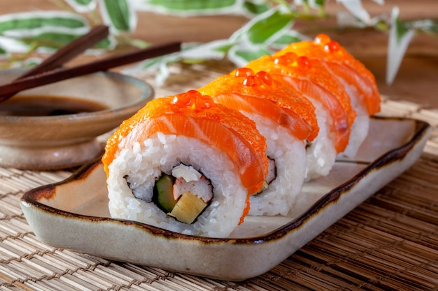 Japanese food with salmon sushi roll