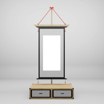 Japanese frame on cabinet in white wall. 3d rendering