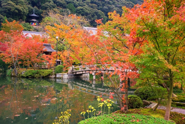 京都の永観堂にある石の橋と神社のある秋の日本庭園。