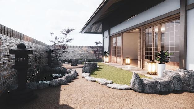 Japanese garden tropical exterior design japan style.3d rendering