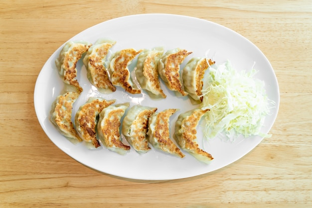 Japanese gyoza or dumplings with soy sauce