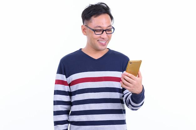 흰색 절연 안경 일본 hipster 남자