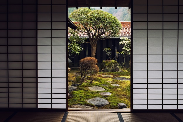 Japanese house door and beautiful garden
