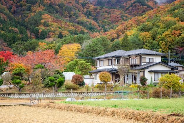 秋の山谷付近の日本の家