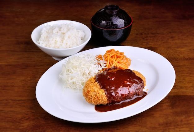 Japanese kare with hambaku set