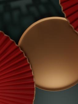 일본 한국 또는 중국 스타일의 최소한의 원형 접시 제품 디스플레이 배경