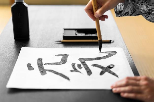 Caratteri giapponesi con il primo piano della vernice