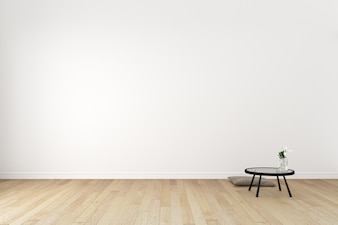 Japanese - Living Room Interior on empty white wall background - minimal design, 3D render
