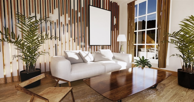 Japanese living room with white wall in the background.3d rendering