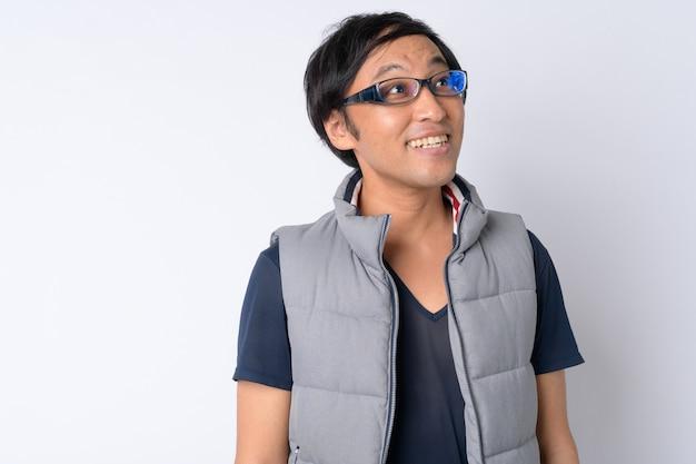 일본 남자 화이트에 하이킹을위한 준비