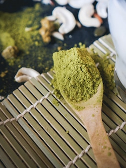 Japanese matcha green tea powder in wooden spoon