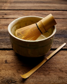 Japanese matcha green tea on wood plank