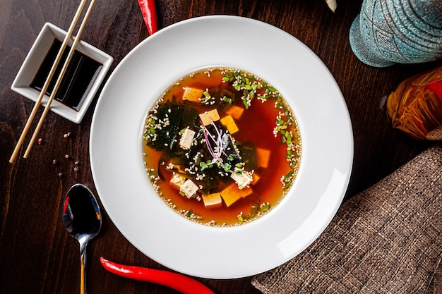 Japanese miso soup made from tofu cheese