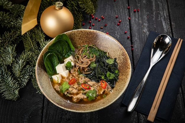 Japanese miso soup with duck meat. until the new year and christmas