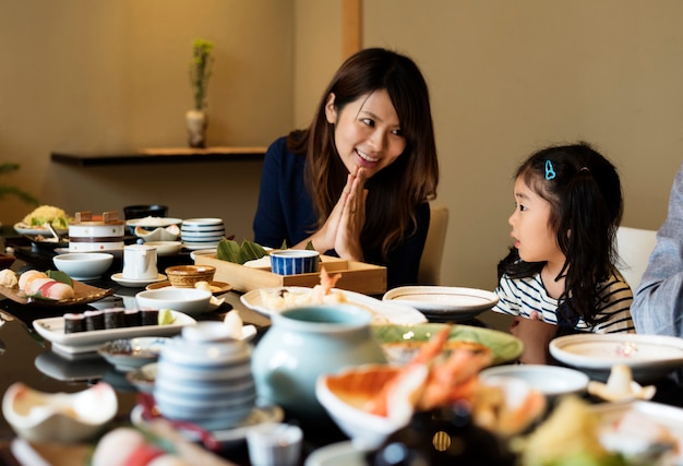 Japanese mother with her daughter