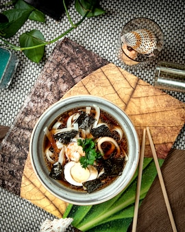 Japanese mushroom noodle soup with eggs