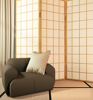 Japanese partition paper wooden design on living room tatami floor.