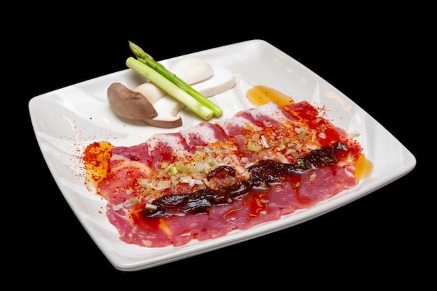 일본 돼지 고기 야키니쿠 메뉴.