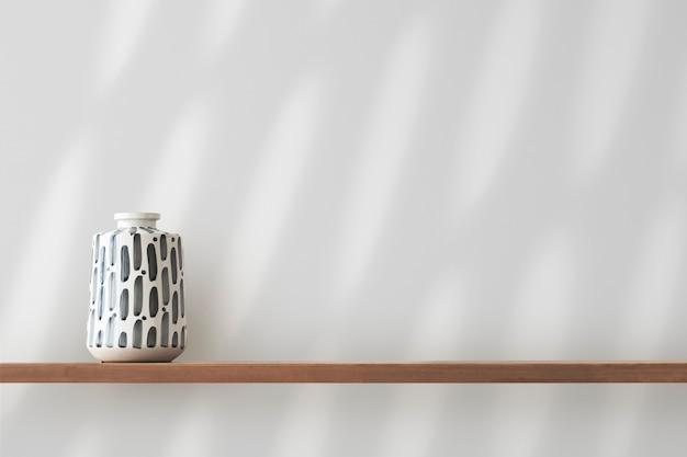 Japanese pottery vase on a shelf