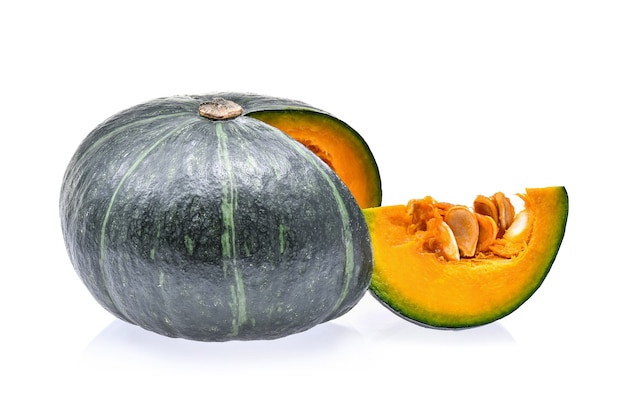 Japanese pumpkin with seed on white background