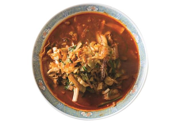 Japanese ramen noodle soup isolated on white background