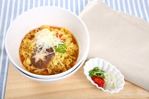 Japanese ramen noodle soup on the table