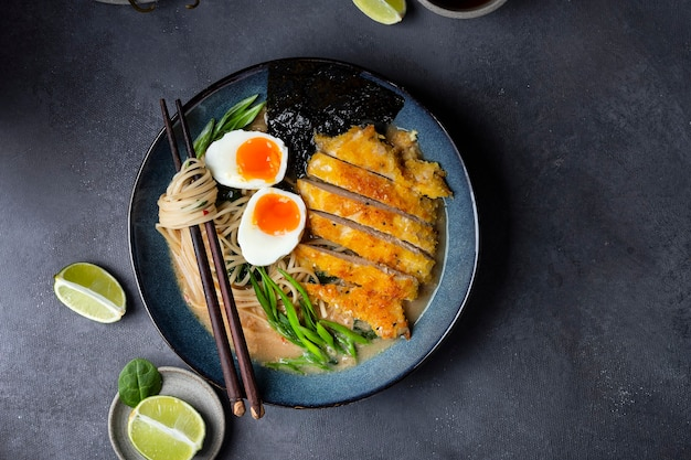 Japanese ramen soup with chicken, egg, and noodles