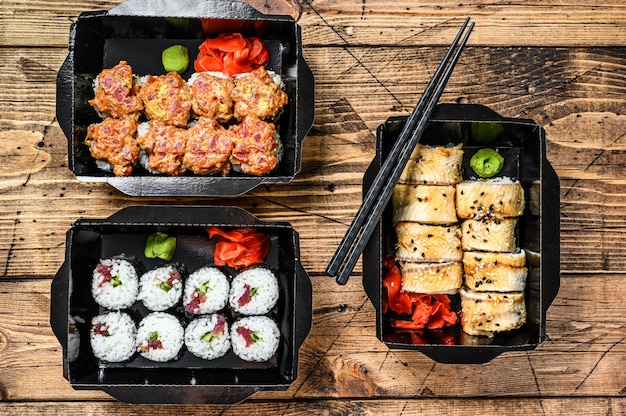 Japanese restaurant food in take away, set delivery box.