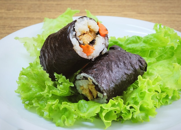 Japanese rice maki sushi roll stuff with tofu and carrot