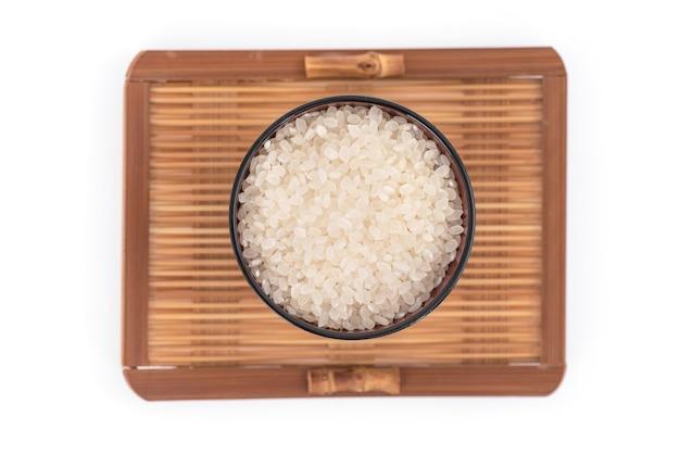 White.top보기, 평면 누워에 고립 된 일본 쌀.