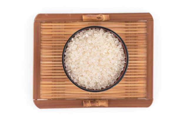Japanese rices isolated on white.top view,flat lay.