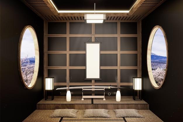 Japanese room design zen style. 3d rendering