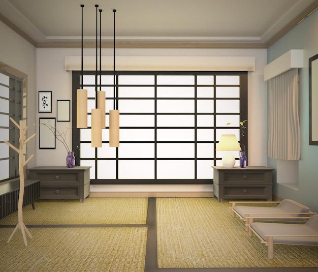 Japanese room interior, living room design. 3d rendering