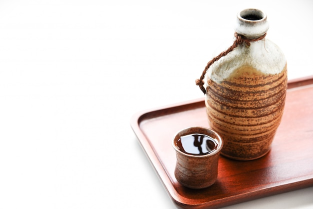 Japanese sake oriental drink style on the table
