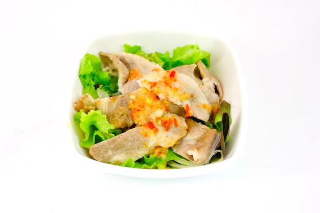 Japanese salad -  lettuce and meat with japanese salad sauce
