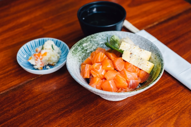 Japanese salmon don set menu