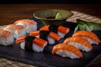 Japanese seafood sushi on black background