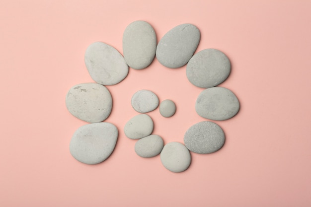 Japanese stones (stone towers) for spa, meditation and relaxation on pink