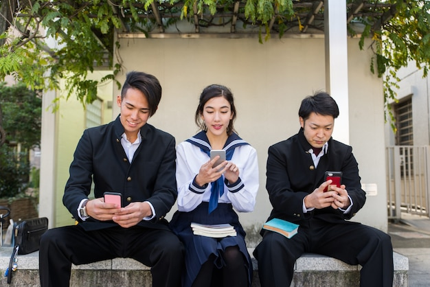 Japanese students meeting outdoors