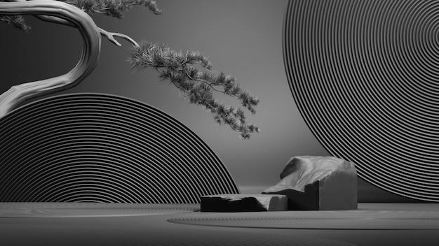 일본 스타일의 추상 검은 배경제품 프레젠테이션을 위한 연단3d 렌더링 그림