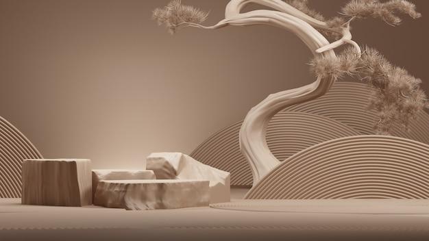 Абстрактный подиум в японском стиле и дерево бонсай с коричневым фоном. 3d-рендеринг. иллюстрация.