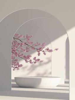 ブランディングと製品プレゼンテーションの3dレンダリングのための日本式建築家表彰台の背景