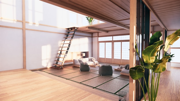 Japanese-style interior of the first floor in a two-story house. 3d rendering