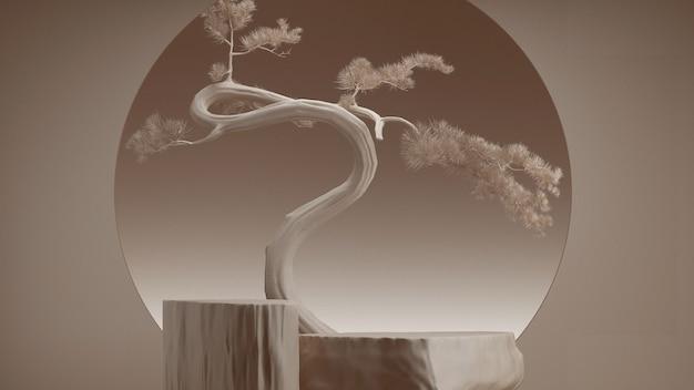 Минимальный абстрактный фон в японском стиле. подиум и дерево бонсай с коричневым фоном для презентации продукта. 3d визуализация иллюстрации.