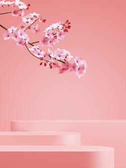 Минимальный фон в японском стиле. розовый подиум и фон сакуры для презентации продукта. 3d визуализация иллюстрации.