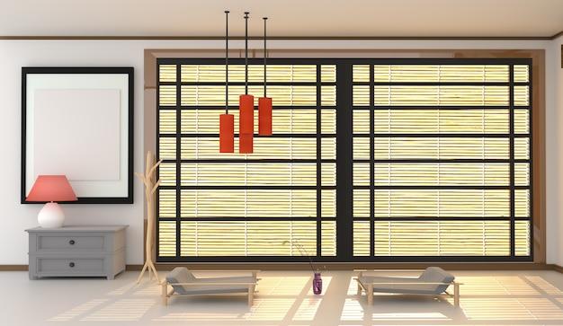 Japanese style room interior design. 3d rendering