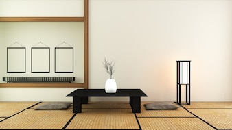 Japanese style - Room interior design. 3D rendering