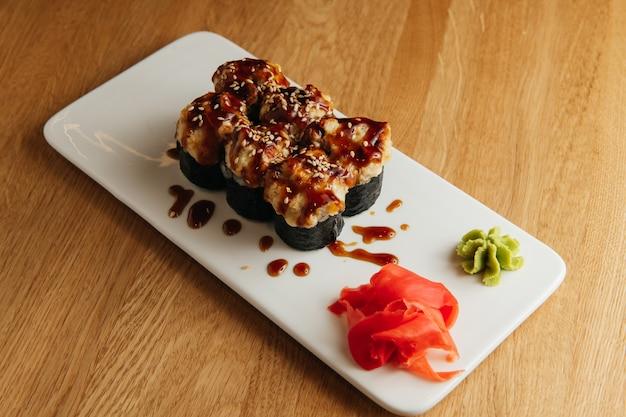 Japanese sushi rolls named baked ebi